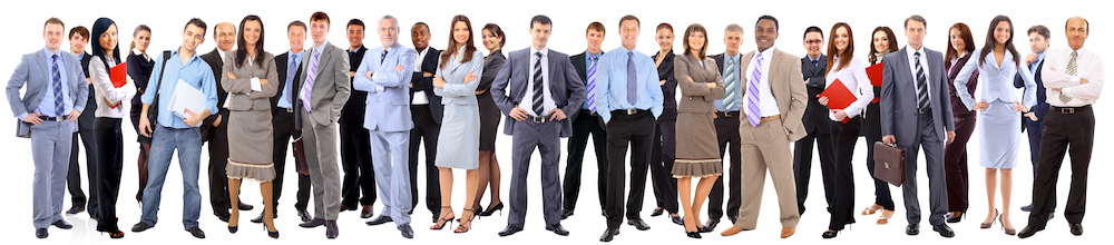 Business team formed of young businessmen and businesswomen standing over a | Business team formed of young businessmen and businesswomen standing over a white background